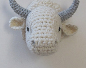 Crochet head cow wall mount trophy off white color