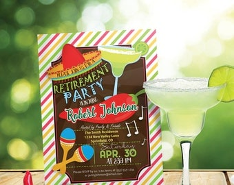 Fiesta Retirement Party Invitation - Personalized Printable DIGITAL FILE