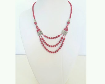 Red jade necklace, Statement necklace, collar necklace, red party necklace