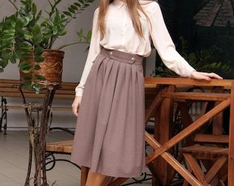 Winter Cappuccino Midi Skirt / Woman Warm Skirt/ Vintage Autumn Coffee Color Skirt