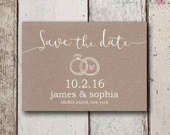 Rustic Save The Dates Instant Download, Save The Dates, Kraft Paper Invite, Simple Save the Date Cards, DIY Save The Date, Thank You Cards