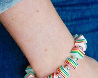 Striped Square Beaded Bracelet