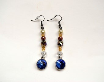 Earrings Navy Crystal Dangle Earrings Gold and Blue