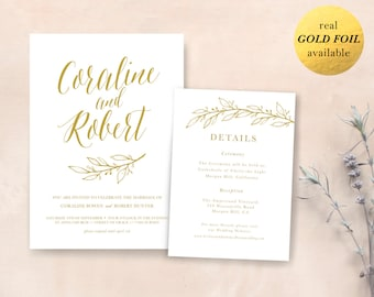 "Real GOLD FOIL Invitation / Digital Wedding Invitation / Printable floral invitation / Botanical Wedding Invitation / Design ""Calla"""