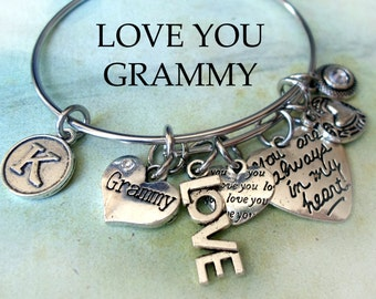 Grammy Bangle, LOVE YOU, Always In My Heart, Swarovski Birthstone Crystal, Custom Monogram Letter