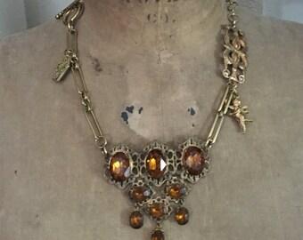 Topaz dreams: vintage assemblage necklace, vintage style, boho style, boho jewelry