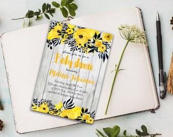 Rustic floral invitation Baby shower invite Yellow rustic invite Floral boho invite Rustic yellow invitation Printable baby shower invite