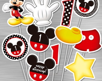 INSTANT DOWNLOAD Mickey Mouse Centerpieces First Birthday Party Printables Birthday Party DIY