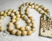 "25.5"" african opal beaded necklace with picture jasper pendant"