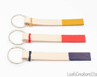 Personalized leather keychain dipped - Choose your color and text