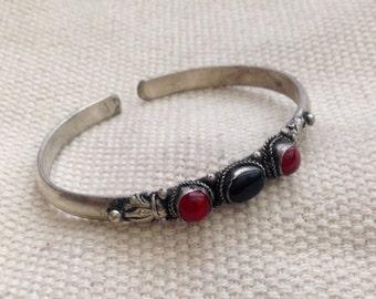 Vintage Style Dark Black Onyx  Coral Three Stone Tibetan/ Nepali Cuff Bracelet