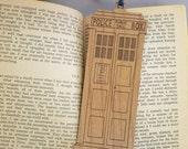 TARDIS Bookmark with Tassel - Laser Engraved Alder Wood - Doctor Who Book Mark