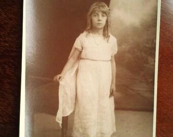 Original Vintage Sepia Postcard Photograph from 1931- Littlr Girl in White Linen Dress Studio Photo - Christmas Photo