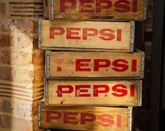 Wooden Pepsi Cola Crate - Genuine Vintage American