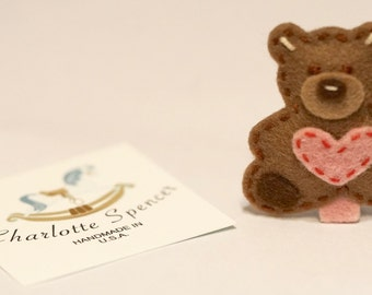 Merino Wool Felt Teddy Bear Hair Clip For Babies, Toddlers and Girls (ready to ship)