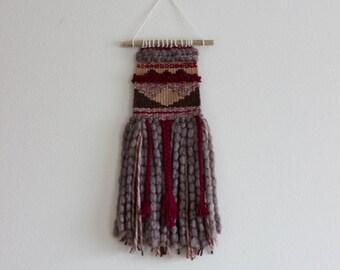 Handwoven Wall Hanging | Taupe, Burgundy, Mauve Pink