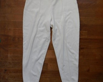vintage 1980s creamy white stretch stirrup high waisted new york style medium legging pants