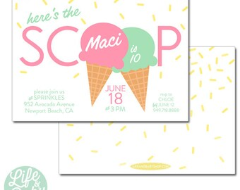 Here's the Scoop Ice Cream Party Invitation | Ice Cream Invitation | Ice Cream Cone Invitation | Ice Cream Birthday - 5x7 with reverse side