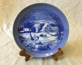 Vintage Sanyei Currier and Ives Plate, The Homestead In Winter
