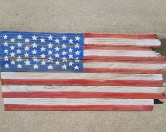Hand Painted American Flag on Reclaimed Wood