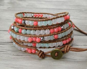 Summer bead bracelet 5 wraps bracelet boho bead leather bracelet coral jade bead wrap bracelet gypsy leather wrap bracelet jewelry SL-0318