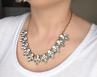 Gold Tone Faux Crystal Necklace, Bridal Necklace, Statement bib Necklace, Bridesmaid necklace
