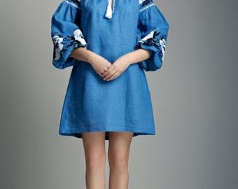 Flower embroidery. Flower dress. Ukrainian embroidery. Linen dress.