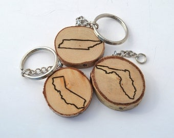 Custom Wooden Keychain Pyrography Wood Burning of any State