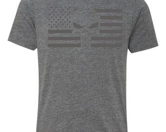 Punisher Triblend Flag- Short Sleeves - Gray