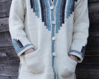 Handwoven Wool Coat with Hoodie