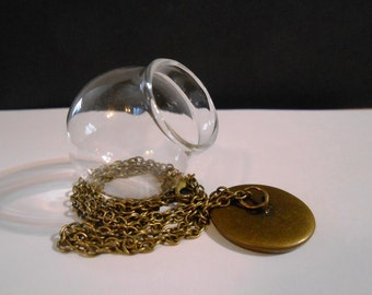 1 Glass globe pendant Bronze chain Dome jewelry Bubble necklace Bottle necklace Vial necklace Terrarium necklace Terrarium Jewelry supplies
