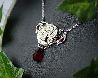 Steampunk with mechanism watch necklace / / Steampunk necklace with watch mechanism