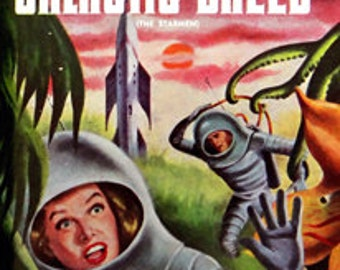 sci fi pulp art print The Galactic Breed  —  vintage pulp paperback cover repro