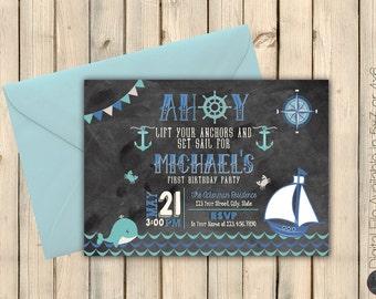 Nautical Birthday Invitation, Whale, Sailor Birthday Invite, Nautical Theme, Anchors Away Party, Boy Ahoy First Birthday, Printed or Digital