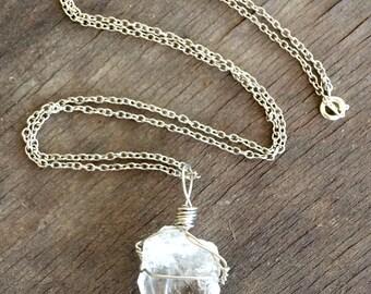 Handwrapped Quartz Point Necklace