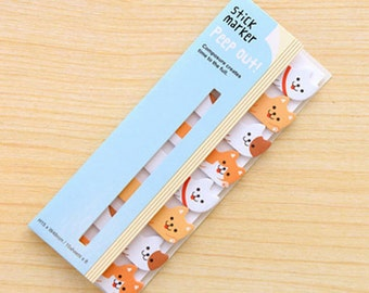 Cute Dog Sticky Notes / Peep Out Stick Marker / Cute Sticky Notes / Kawaii Sticky Notes / Post-It / Cute Animal Sticky Notes Tabs