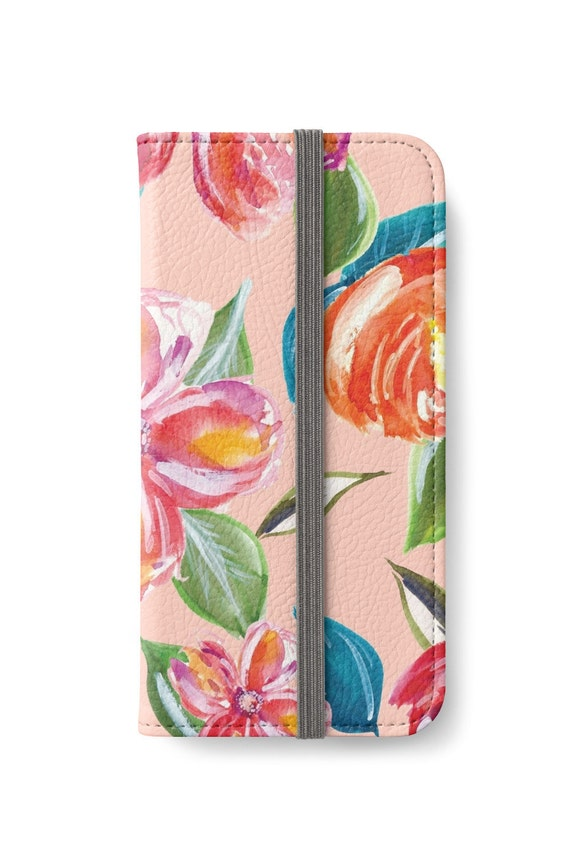 Case Design phone case that holds credit cards : ... Plus Wallet, iPhone Wallet, Floral iPhone Wallet Case, Girlfriend Gift
