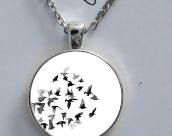 Vintage black freedom flying birds necklace glass pendant