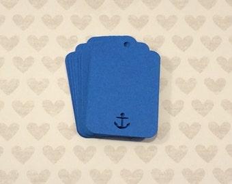 25 Nautical Blue Tags, Nautical Theme, Anchor, Paper Tag, Scalloped Tag, Thank You Tag, Wedding Favor, Wedding Decor, Bridal Shower