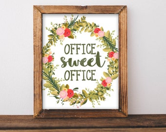 Printable Wall Art, Office Sweet Office printable, work decor print, typography quote office decor work decor office wall art pink floral
