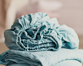 Linen fitted sheet. Aquamarine colour. Blue linen fitted sheet. Natural bed sheet. Softened. Green blue stone washed linen bed sheet