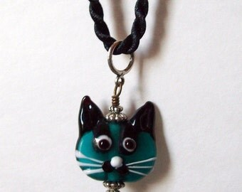 Hand painted Kitty Pendant