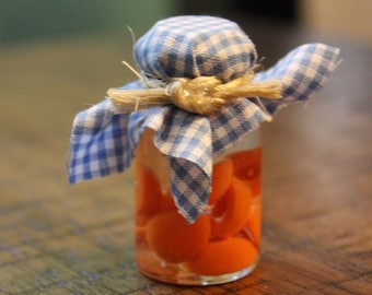 Canned peaches in syrup, doll food, fairy garden, 18 inch Doll food