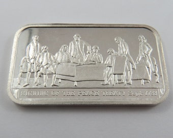 Sept.1783 Signing of the Peace Treaty Silver Art Bar Series # 000314 from the Columbia Mint made in 1977