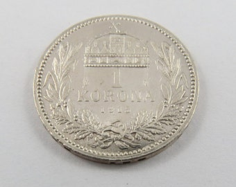 Hungary Silver 1915 One Korona Coin.