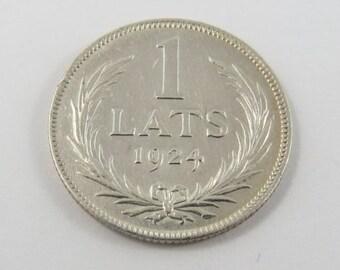 Latvia 1924 Silver 1 Lats Coin.