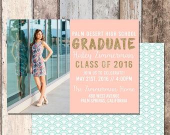 Graduation Announcement-High School Graduation-College Graduation-Announcement-Graduation Party-Graduation Invitation-Mint-Graduate-