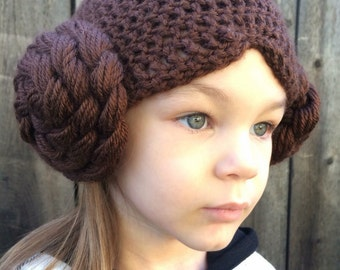 Princess Leia hat, Star Wars hat. Baby - adult sizes