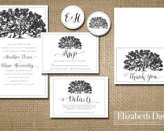Printable Rustic Shabby Chic Elegant Southern Oak Tree Wedding Invitation  Package + RSVP + Details +