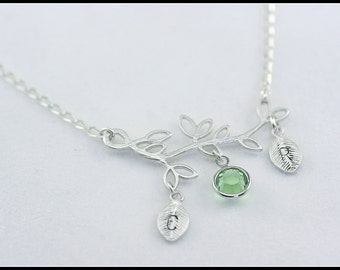 Birthstone Personalized Branch Necklace - silver initial branch necklace - Tree Branch necklace - Mothers Necklace - Wedding Gift